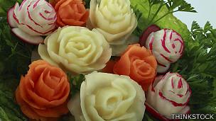 Flores hechas de vegetales