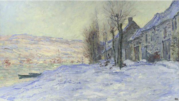 "Fragmento de ""Lavacourt bajo la nieve"", de Claude Monet"