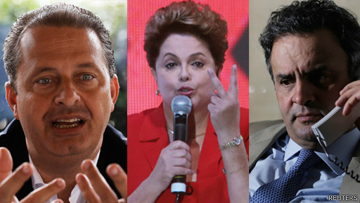 Eduardo Campos (e), Dilma Rousseff (c) and Aécio Neves (d), candidatos à presidência do Brasil (Reuters)