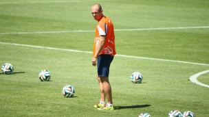 Robben durante treinamento da Holanda