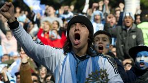 Torcedor argentino em partida contra a Nigéria / Crédito: AFP