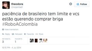 Tweet sobre partida Brasil x Colômbia (Reprodução)