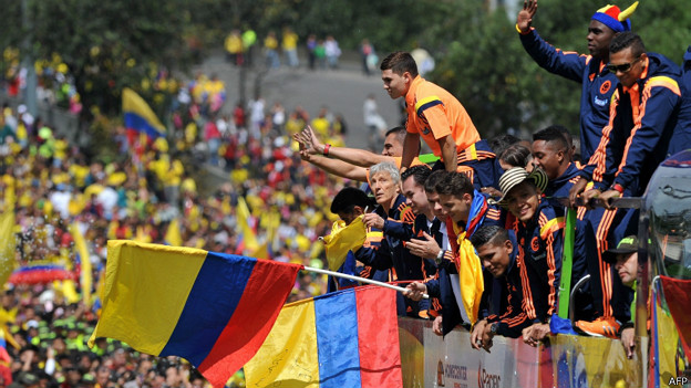 Recibimiento de la selección colombiana en Bogotá