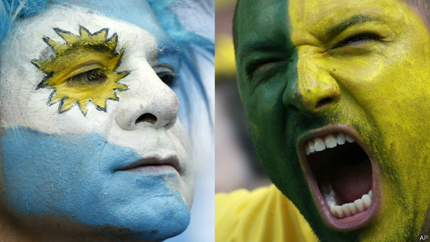 Montagem torcedor brasileiro e argentino | Crédito: AP