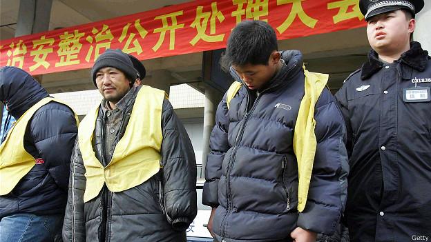 Арестованные воришки в Китае