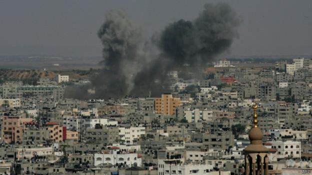 Fumaças em prédio em Israel (AFP)