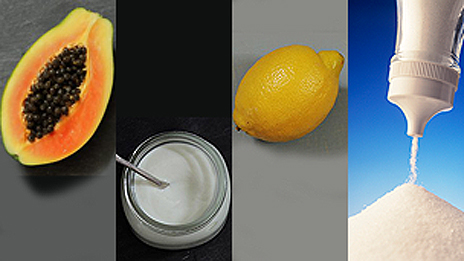 Papaya, yogur, limón y sal