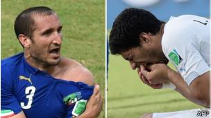 Chiellini y Suárez