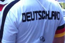 A man wearing a Germany football shirt