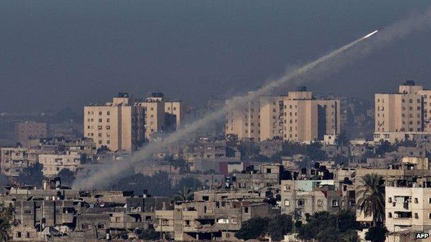Misiles lanzados desde la Franja de Gaza