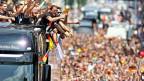 Seleção alemã nas ruas de Berlim. Foto: Getty