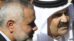 Primer ministro de Gaza con el emir de Qatar