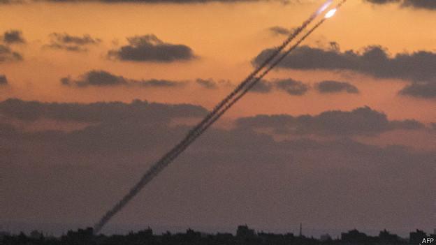 Cohetes desde Gaza hacia Israel
