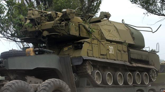 Vehículo oruga, parte de un sistema Buk ucraniano