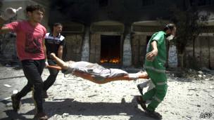 Evacuación de heridos en Gaza