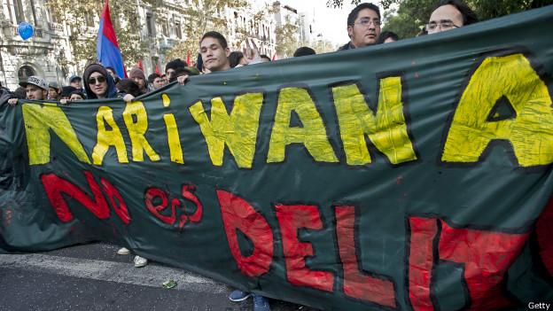 Manifestación en pro de la legalización de la marihuana en Chile