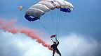 A man parachuting