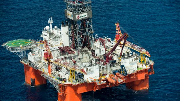 Vista aérea de la plataforma marítima La Muralla IV de Petróleos Mexicanos. Foto: AFP/Getty