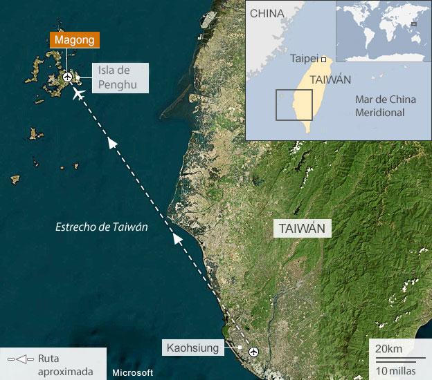 Ruta aproximada del avion que se estrello en Taiwan