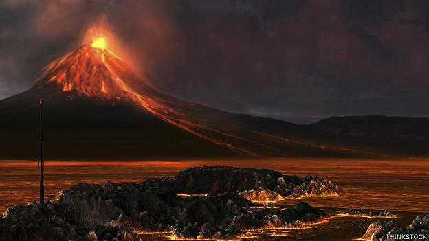 Escena volcánica