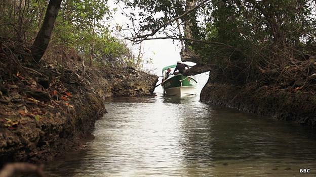 El canal defensivo del fuerte San Andrew.