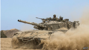 Tanque israelí en Gaza