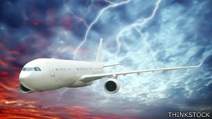 Avión en tormenta