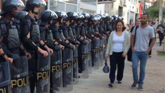 Policiais militares em São Paulo