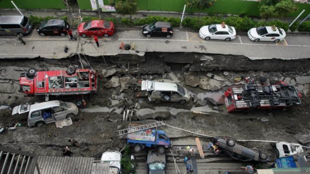 Calle destruida