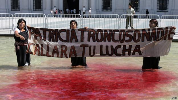 Protesta a favor de Patricia Troncoso en 2008