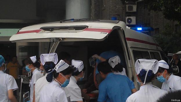 8月2日拍攝的發生爆炸的車間外景。