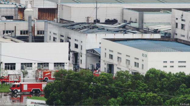 昆山市一家台資企業星期六(8月2日)上午發生工廠爆炸