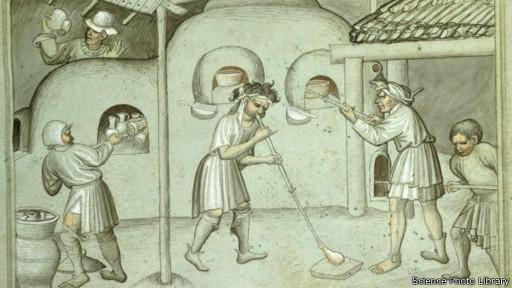 رسم لصناعة الزجاج قديما