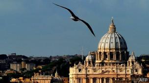 gaviota volando con el Vaticano de fondo