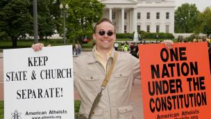Americano protesta por secularidade nos EUA. Credito: AFP