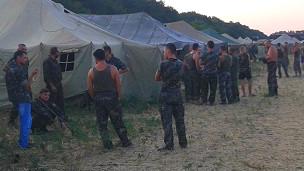 Лагерь украинских военных в районе Гукова
