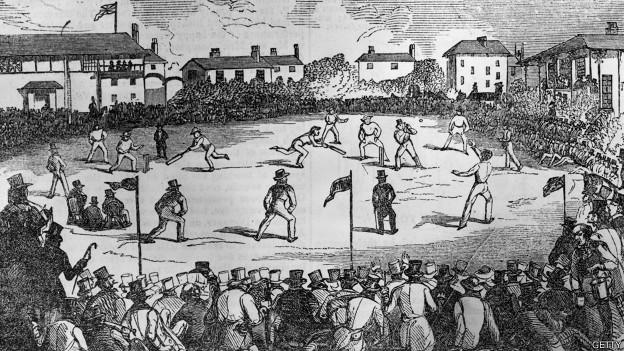 Partido de cricket en la época victoriana