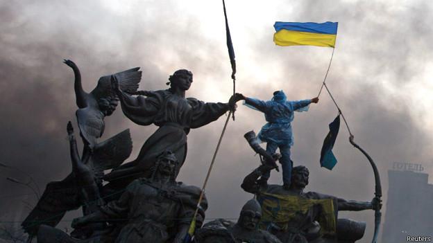 """Сторонник """"Евромайдана"""" во время противостояния на площади Независимости в Киеве"""
