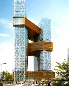 Ilustración de la nueve sede de la empresa Tencent