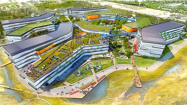 Ilustración de la extensión del campus de Google