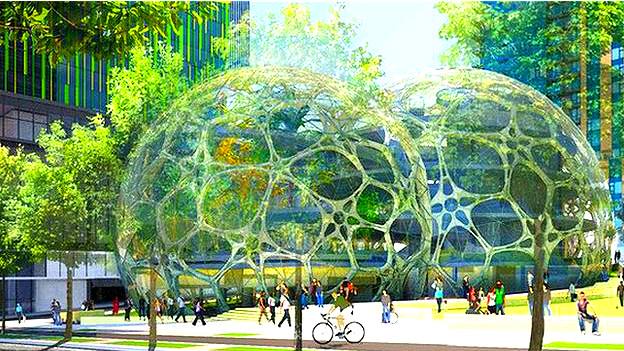 Burbujas planeadas en la nueva sede de Amazon