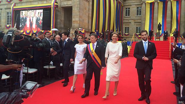 Juan Manuel Santos, su esposa e hijos