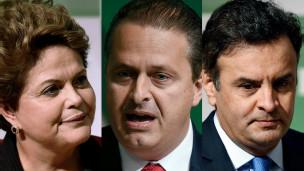 Dilma Rousseff, Eduardo Campos e Aécio Neves (foto: AFP)