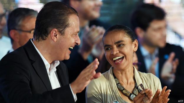 Campos e Marina em ato de campanha.Credito: AFP