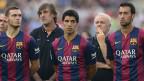 Jugadores del Barcelona. Luis Suárez en el centro.