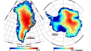 Mapas da Groenlândia e da Antártica