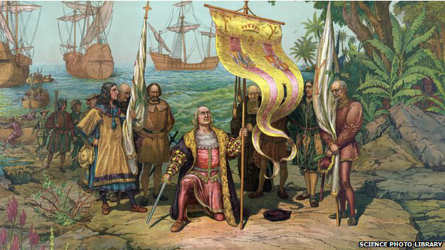 Ilustración antigua de la llegada de Colón a América