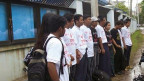 Journalists are protesting outside Myanmar Peace Centre