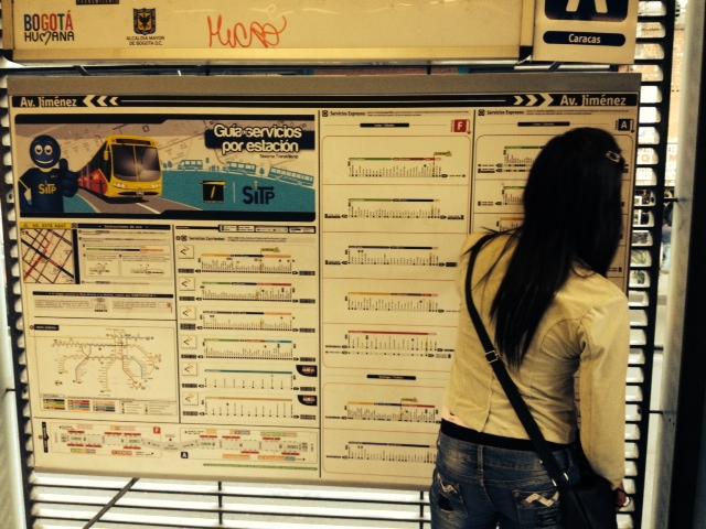 Mujer estudiando el mapa de rutas del Transmilenio.
