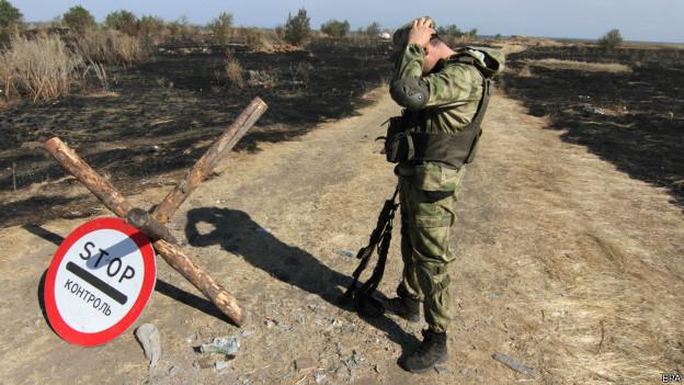 Área de fronteira da Ucrânia bombardeada por russos / Crédito: EPA
